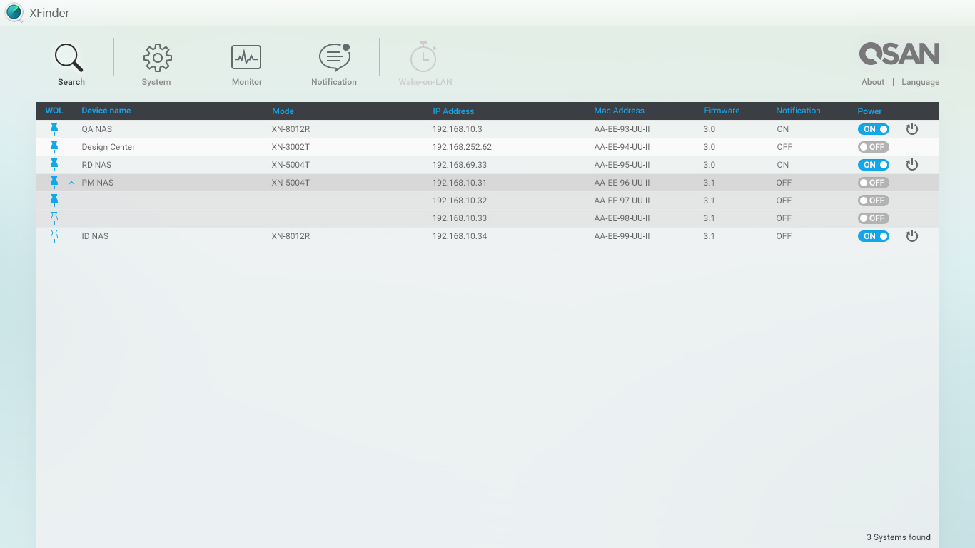 XFinder is a desktop utility that searches for QSAN XCubeNAS devices in the local area network